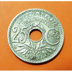 .FRANCIA 25 CENTIMOS 1939 Tipo LINDAUER @COSPEL FINO 1,35mm@ KM.867B MONEDA DE NICKEL EBC France PRE INVASION NAZI III REICH