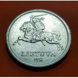 LITUANIA 5 LITAI 1936 CABALLERO MEDIEVAL y JONAS BASANAVICIUS KM.82 MONEDA DE PLATA SC- Lithuania Lietuva silver