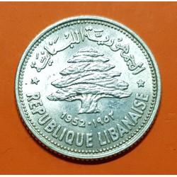 LIBANO 50 PIASTRAS 1952 CEDRO ARBOL SAGRADO KM.17 MONEDA DE PLATA SC- Lebanon silver 50 Piastres