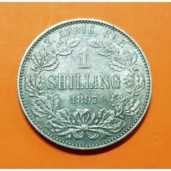 SUDAFRICA 1 SHILLING 1897 JOHANNES PAULUS KRUGER KM.5 MONEDA DE PLATA EBC @RARA@ South Africa