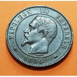 FRANCIA 10 CENTIMOS 1856 Letra K (BURDEOS) NAPOLEON III KM.771.5 MONEDA DE BRONCE MBC++ France 10 Centimes