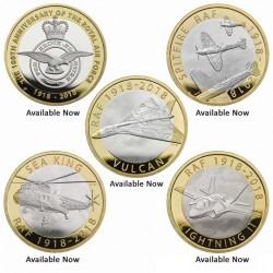 @5 MONEDAS@ INGLATERRA 2 LIBRAS 2018 CENTENARIO DE LA RAF AVION HELICOPTERO CAZA... FDC ESTUCHE BIMETALICAS UK 2 Pounds