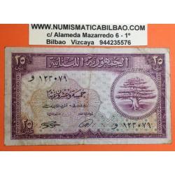 LIBANO 25 PIASTRAS 1950 ESCUDO y CEDRO ARBOL SAGRADO Pick 42 BILLETE CIRCULADO @MUY RARO@ Lebanon 25 Piastres BANKNOTE