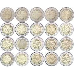 2 EUROS 2009 EMU @LOTE DE 20 MONEDAS@ 16 PAISES SC incluído ESPAÑA y ALEMANIA ADFGJ