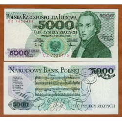 POLONIA 5000 ZLOTY 1988 FRYDERYK CHOPIN PARTITURA MUSICAL Pick 150C BILLETE SC Poland 5000 Zlotych UNC BANKNOTE