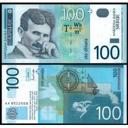 SERBIA 100 DINARA 2003 NIKOLA TESLA FAMOSO INVENTOR Pick 141 BILLETE SC UNC BANKNOTE 100 Dinares EX-YUGOSLAVIA