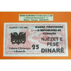 KOSOVO 25 DINARE 1999 BANKA PROVIZIORE Prishtina TEXTO EN TINTA sobre billete de MACEDONIA Pick 2 SC @RARO@ UNC BANKNOTE