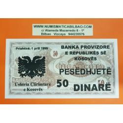 KOSOVO 50 DINARE 1999 BANKA PROVIZIORE Prishtina TEXTO EN TINTA sobre billete de MACEDONIA Pick 3 SC @RARO@ UNC BANKNOTE