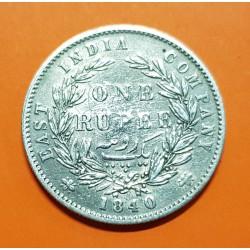 INDIA 1 RUPIA 1840 EAST INDIA COMPANY REINA VICTORIA KM.458 MONEDA DE PLATA MBC @RARA@ British Británica silver