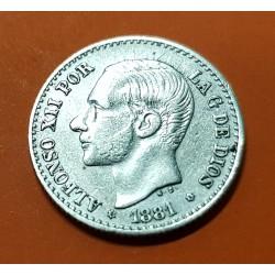 ESPAÑA Rey ALFONSO XII 50 CENTIMOS 1881 * 8/1 MSM REY y ESCUDO KM.685 MONEDA DE PLATA MBC+ 1