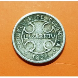 COLOMBIA 2 CENTAVOS 1921 RH LEPROSERIA DE LAZARETO KM L.10 MONEDA DE NICKEL MBC- @RARA@ Leper Colony coin