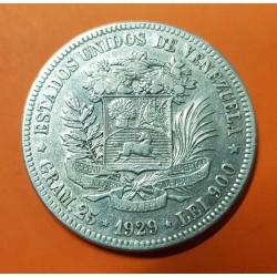 VENEZUELA 5 BOLIVARES 1929 LIBERTADOR SIMON BOLIVAR KM.24.2 MONEDA DE PLATA MBC silver coin