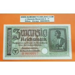 ALEMANIA 20 MARCOS 1940 1945 ALBERT DURER Serie B Pick 139 MBC BILLETE NAZI Germany 20 Reichsmark III REICH