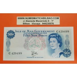ISLA DE MAN 50 PENIQUES 1979 (SIN FECHA) REINA ISABEL II Pick 33 BILLETE SC @ESCASO@ Isle Of Man 50 Pence
