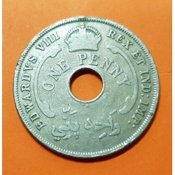 @KING EDWARD VIII@ AFRICA DEL OESTE 1 PENIQUE 1936 H ESTRELLA DE 6 PUNTAS KM.16 MONEDA DE NICKEL MBC British West Africa