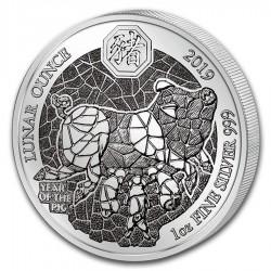 @1 ONZA 2019@ RUANDA 50 FRANCOS 2019 AÑO LUNAR DEL CERDO MONEDA DE PLATA SC silver LUNAR OUNCE Rwanda 50 Francs Pig @RARA@