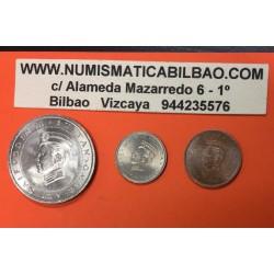 3 monedas x BRUNEI 1 SEN + 5 SEN + 50 SEN 1967 SULTAN HASSANAK BOLKIAH NICKEL y LATON SC Sultanato de
