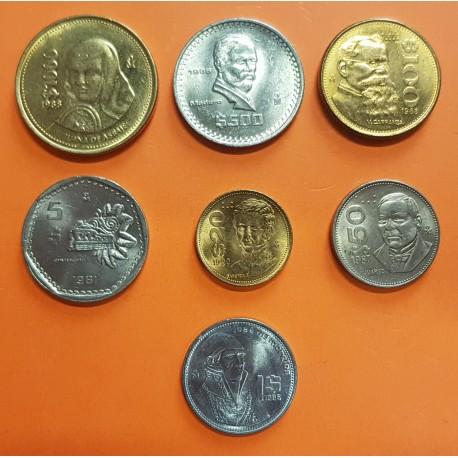 @TIRA DE 7 MONEDAS@ MEXICO 1 + 5 + 20 + 50 + 100 + 500 + 1000 PESOS 1981 a 1990 PERSONAJES FAMOSOS SC Mejico coin set DISEÑO 2