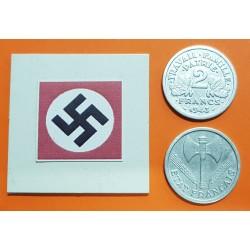 @OFERTA@ FRANCIA 2 FRANCOS 1943 BAZOR KM.904.1 MONEDA DE ALUMINIO OCUPACION NAZI III REICH WWII France