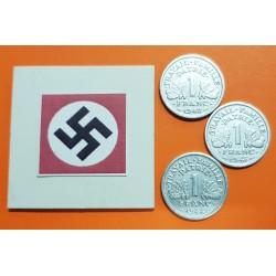 @3 MONEDAS@ FRANCIA 1 FRANCO 1942 + 1943 + 1944 C BAZOR KM.902 WWII 3 MONEDAS DE ALUMINIO OCUPACION NAZI III REICH