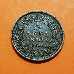 INDIA 1/12 ANNA 1916 Calcuta 1 PIE GEORGIUS V KING EMPEROR KM.509 MONEDA DE BRONCE MBC+ British India UK Colony