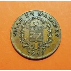 FRANCIA 10 CENTIMOS 1917 FICHA VILLE DE MAZAMET ALQUIER FRERES MONEDA DE LATON @ESCASA@ France WWI JETON TOKEN Franch Notgeld