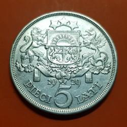 LETONIA 5 LATI 1929 DAMA y ESCUDO KM.9 MONEDA DE PLATA EBC- Latvia Latvijas Republik silver coin 1