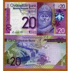 ESCOCIA 20 LIBRAS 2015 CLYDESDALE BANK ROBERT BRUCE Pick 229K BILLETE DE PLASTICO SC Scotland polymer UNC BANKNOTE