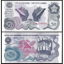 YUGOSLAVIA 50 DINARA 1990 ESTATUAS y MONUMENTO Epoca pre Guerra de los Balcanes Pick 101 BILLETE SC 50 Dinar UNC BANKNOTE