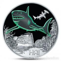 @RARA@ AUSTRIA 3 EUROS 2018 TIBURON MONEDA DE NICKEL A COLORES SC @SE ILUMINA EN LA NOCHE@ Österreich HAI SHARK 3 Euro Coin
