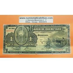 MEXICO 1 PESO 1914 BANCO DE QUERETARO SA CAMPESINO CON SU BURRO Pick S.397 BILLETE @RARO@ Mejico banknote REVOLUCION MEXICANA