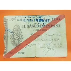 ESPAÑA 100 PESETAS 1936 BANCO DE ESPAÑA GIJON ASTURIAS Sin Serie 169636 BILLETE TIPO TALON @RARO@ GUERRA CIVIL