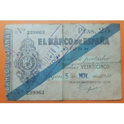 ESPAÑA 25 PESETAS 1936 BANCO DE ESPAÑA GIJON ASTURIAS Sin Serie 239063 BILLETE TIPO TALON @RARO - CORTE@ GUERRA CIVIL