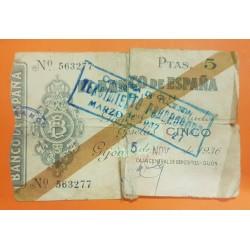 ESPAÑA 5 PESETAS 1936 BANCO DE ESPAÑA GIJON ASTURIAS Sin Serie 563277 BILLETE TIPO TALON @ESCASO@ GUERRA CIVIL