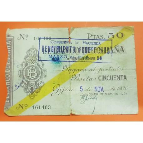 ESPAÑA 50 PESETAS 1936 BANCO DE ESPAÑA GIJON ASTURIAS Sin Serie 161463 BILLETE TIPO TALON @ESCASO@ GUERRA CIVIL