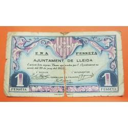 @OFERTA@ LLEIDA 1 PESETA 1937 AJUNTAMENT DE LLEIDA UNA PESSETA Serie 268275 @ROTO@ BILLETE LOCAL GUERRA CIVIL EN ESPAÑA