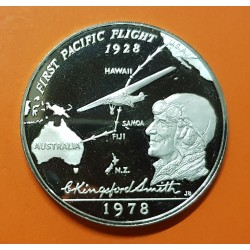 SAMOA I SISIFO 1 DOLAR 1978 AVION DE CHARLES LINDBERG FIRST PACIFIC FLIGHT KM.28A MONEDA DE PLATA PROOF Western Samoa 1 Tala