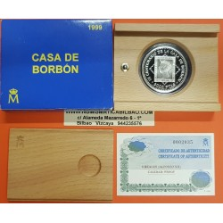 ESPAÑA 2000 PESETAS 1999 CASA DE BORBON 3ª Serie REINA ISABEL II SELLO DE 1850 MONEDA DE PLATA ESTUCHE CERTIFICADO FNMT