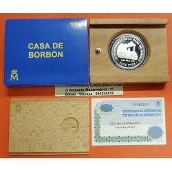 ESPAÑA 2000 PESETAS 1999 CASA DE BORBON 3ª Serie REY ALFONSO XII TREN REAL 1879 MONEDA DE PLATA ESTUCHE CERTIFICADO FNMT
