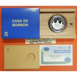 ESPAÑA 2000 PESETAS 1999 CASA DE BORBON 3ª Serie REY ALFONSO XIII PALACIO DE MONTJUICH MONEDA DE PLATA ESTUCHE CERTIFICADO FNMT