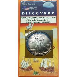 ESTADOS UNIDOS 1 DOLAR 1992 EAGLE LIBERTY @OFFICIAL SOUVENIR EXPO DE SEVILLA@ PLATA PURA SC ONZA OZ
