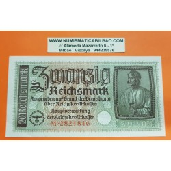 ALEMANIA 20 MARCOS 1940 1945 ALBERT DURER Serie M Pick 139 EBC- BILLETE NAZI Germany 20 Reichsmark III REICH
