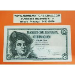 ESPAÑA 5 PESETAS 1948 JUAN SEBASTIAN ELCANO Serie L 00972277 Pick 136A BILLETE SC- @DOBLEZ EN MARGEN DERECHO@ Spain banknote