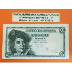 ESPAÑA 5 PESETAS 1948 JUAN SEBASTIAN ELCANO Serie L 00972278 Pick 136A BILLETE SC- @DOBLEZ EN MARGEN DERECHO@ Spain banknote