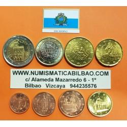 SAN MARINO MONEDAS EURO 2013 SC 1+2+5+10+20+50 CENTIMOS 1 EURO + 2 EUROS 2013 @DE CARTERA OFICIAL@ REVERSO TIPO 2