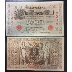 ALEMANIA 1000 MARCOS 1910 IMPERIO MUJERES y AGUILA Serie ROJA Pick 44 EBC+ Germany 1000 Reichsbanknote LETRA X