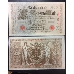 ALEMANIA 1000 MARCOS 1910 IMPERIO MUJERES y AGUILA Serie ROJA Pick 44 EBC+ Germany 1000 Reichsbanknote LETRA Z