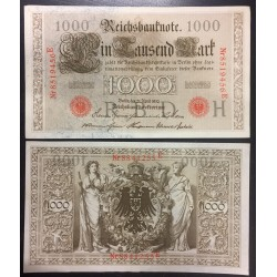 ALEMANIA 1000 MARCOS 1910 IMPERIO MUJERES y AGUILA Serie ROJA Pick 44 EBC+ Germany 1000 Reichsbanknote LETRA O