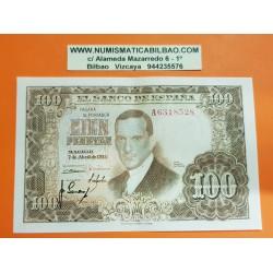 ESPAÑA 100 PESETAS 1953 JULIO ROMERO DE TORRES @RARA Serie A 6318528@ Pick 145 BILLETE SC CON MARCADA DOBLEZ CENTRAL Spain