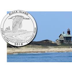 @5ª MONEDA@ ESTADOS UNIDOS 25 CENTAVOS 2018 D Parque Nacional BLOCK ISLAND en RHODE ISLAND NICKEL SC USA Quarter